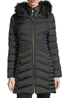 Laundry By Shelli Segal Mid-Weight Faux-Fur Puffer Coat