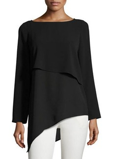 Laundry By Shelli Segal Mixed-Media Asymmetric Top