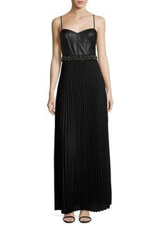 Laundry By Shelli Segal Mixed-Media Pleated Gown