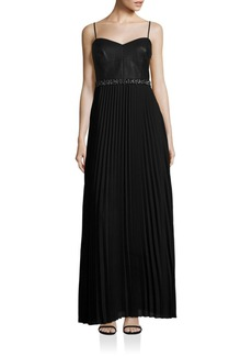 Laundry by Shelli Segal Mixed Media Pleated Gown