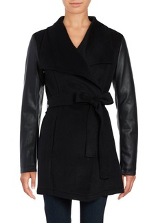 Laundry by Shelli Segal Mixed Media Wrap Coat