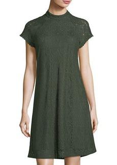Laundry By Shelli Segal Mock-Neck Lace Swing Dress