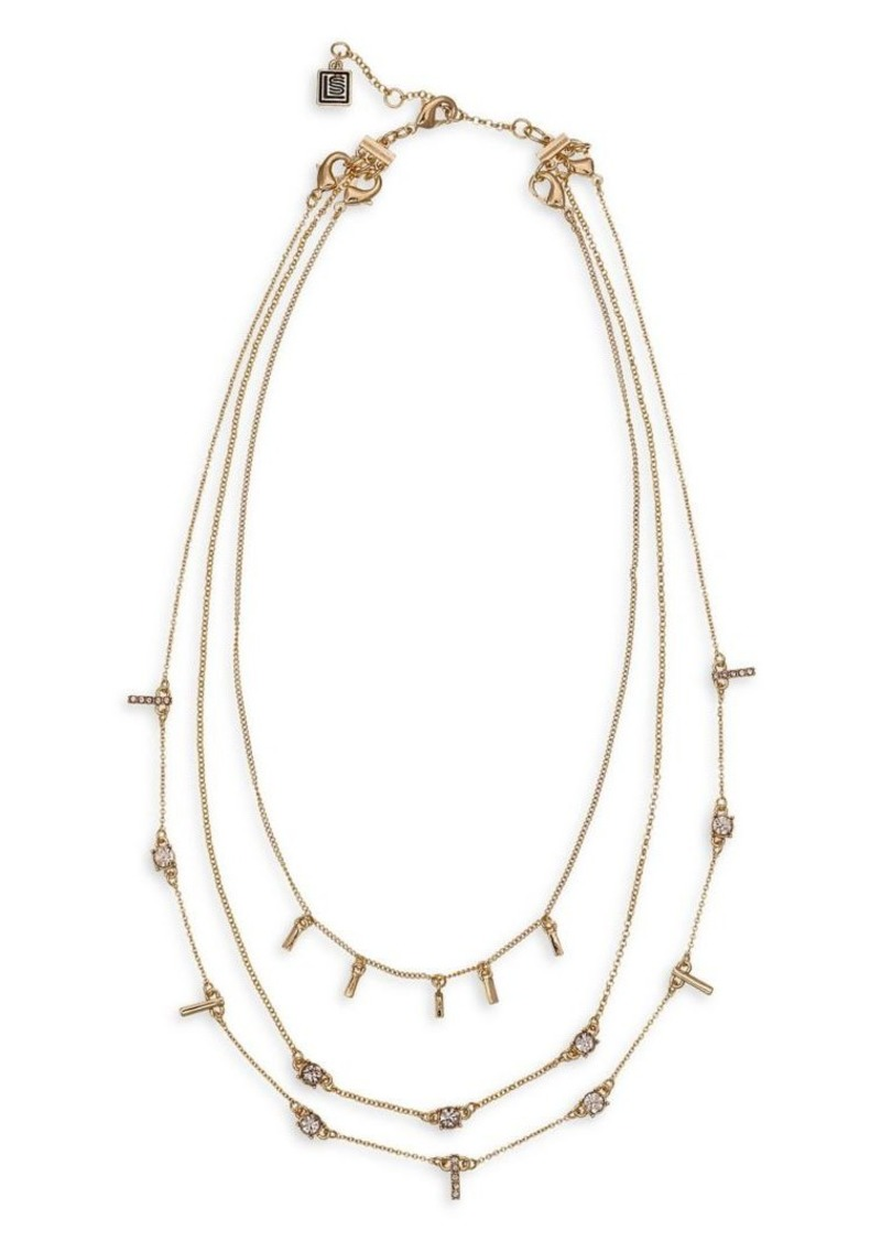 Laundry by Shelli Segal Montebello Metals Goldtone & Crystal Multi Row Convertible Necklace