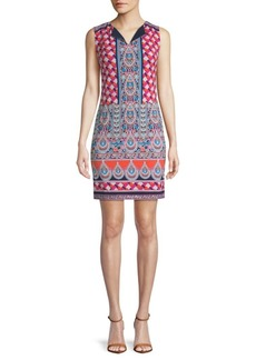 Laundry by Shelli Segal Mosaic-Print Shift Dress