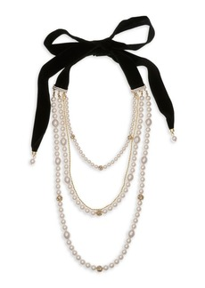 Laundry by Shelli Segal Multi-Row Goldtone, Bead and Velvet Tie Necklace