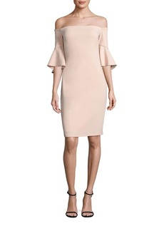 Laundry by Shelli Segal Off-The-Shoulder Bell Sleeve Sheath Dress