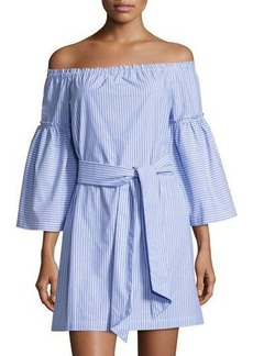Laundry By Shelli Segal Off-the-Shoulder Belted Striped Dress
