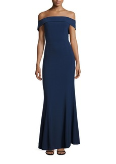 Laundry by Shelli Segal Off-The-Shoulder Crepe Gown