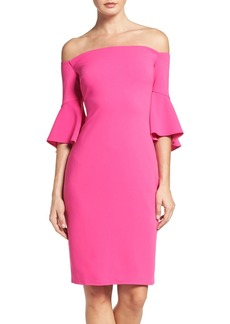 Laundry by Shelli Segal Off the Shoulder Crepe Sheath Dress