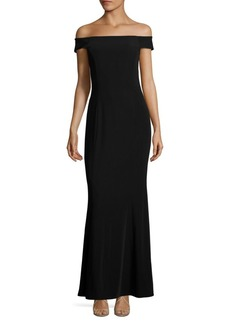 Laundry by Shelli Segal Off-The-Shoulder Crisscross Gown