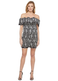 Laundry by Shelli Segal Off the Shoulder Embroidered Eyelet Romper