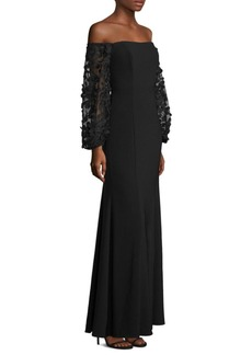 Laundry by Shelli Segal Off-The-Shoulder Embroidered Gown