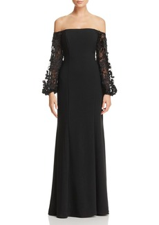 Laundry by Shelli Segal Off-the-Shoulder Embroidered-Sleeve Gown