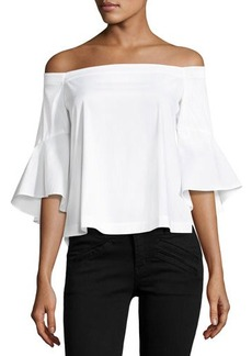 Laundry By Shelli Segal Off-the-Shoulder Flounce-Sleeve Poplin Top