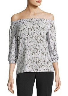 Laundry By Shelli Segal Off-the-Shoulder Graphic-Print Peasant Top