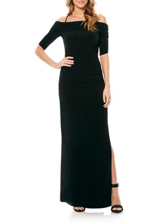 Laundry by Shelli Segal Off the Shoulder Jersey Gown