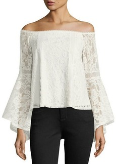 Laundry By Shelli Segal Off-The-Shoulder Lace Bell-Sleeve Top