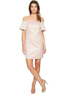Laundry by Shelli Segal Off the Shoulder Metallic Dot Jacquard Shift Dress