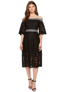 Laundry by Shelli Segal Off the Shoulder Midi Lace Dress with Scallop Hem