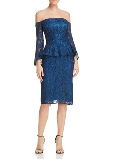 Laundry by Shelli Segal Off-the-Shoulder Peplum Lace Dress