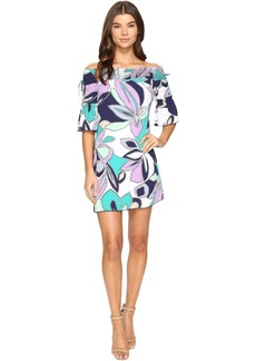 Laundry by Shelli Segal Off the Shoulder Print Dress w/ Smocking