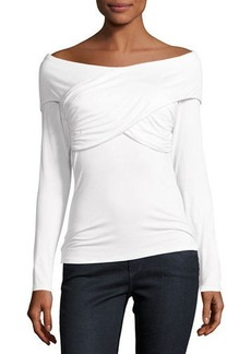 Laundry By Shelli Segal Off-The-Shoulder Ruched Jersey Top