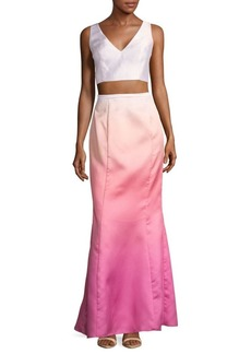 Laundry by Shelli Segal Two-Piece Ombre Cropped Top and Skirt Set