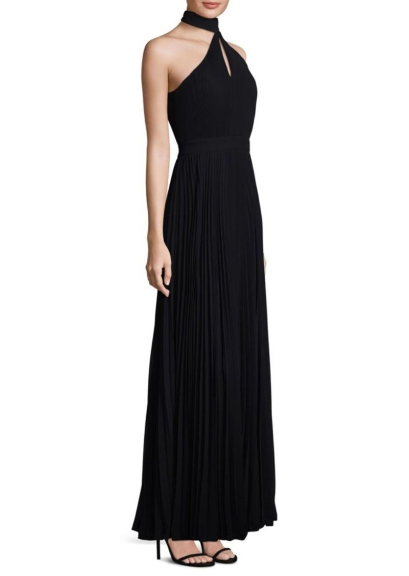 Laundry by Shelli Segal One-Shoulder Choker Gown