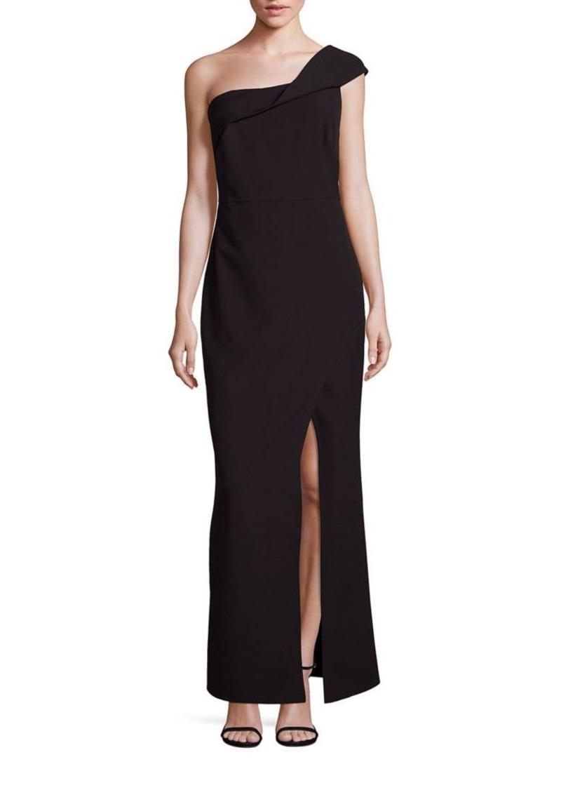 Laundry by Shelli Segal One-Shoulder Crepe Gown
