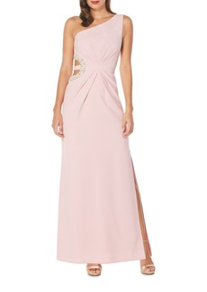 Laundry by Shelli Segal One-Shoulder Embellished Gown