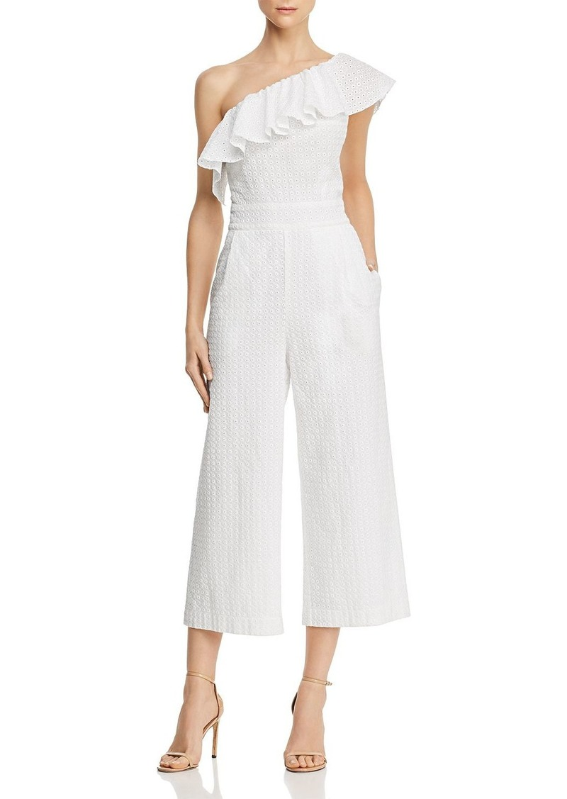 Laundry by Shelli Segal One-Shoulder Eyelet-Lace Jumpsuit