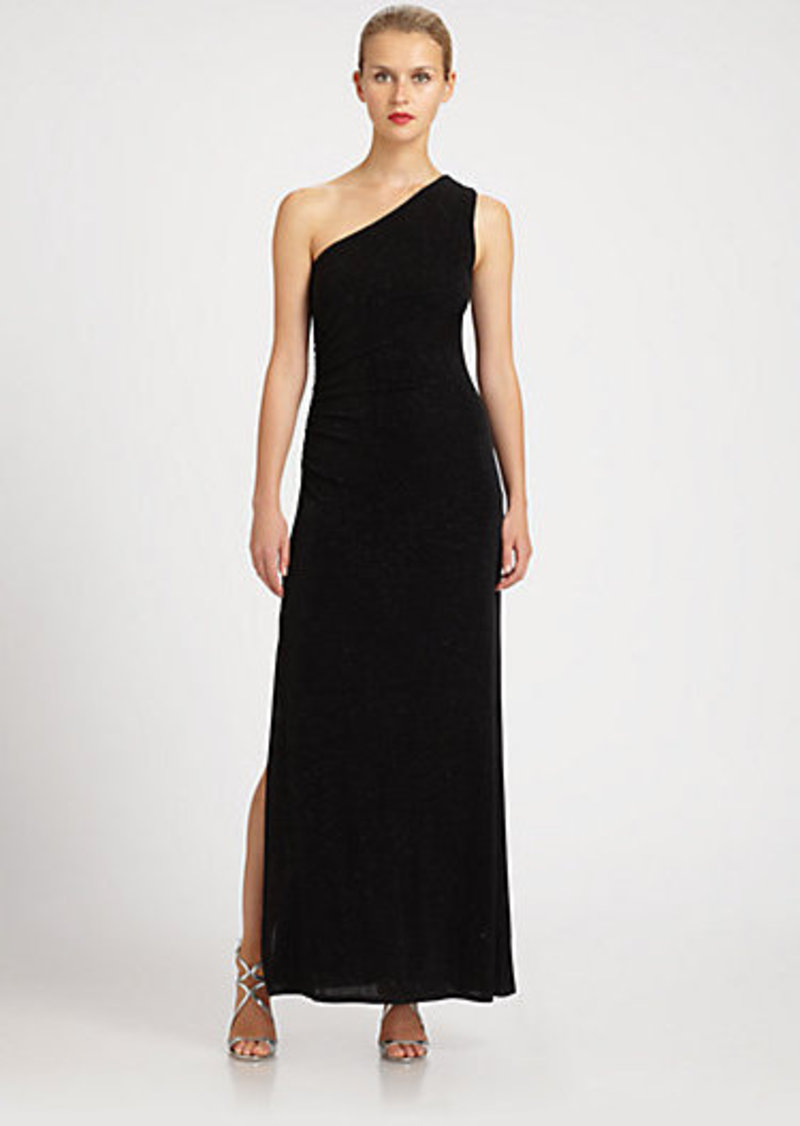 Laundry by Shelli Segal One-Shoulder Glitzy Gown