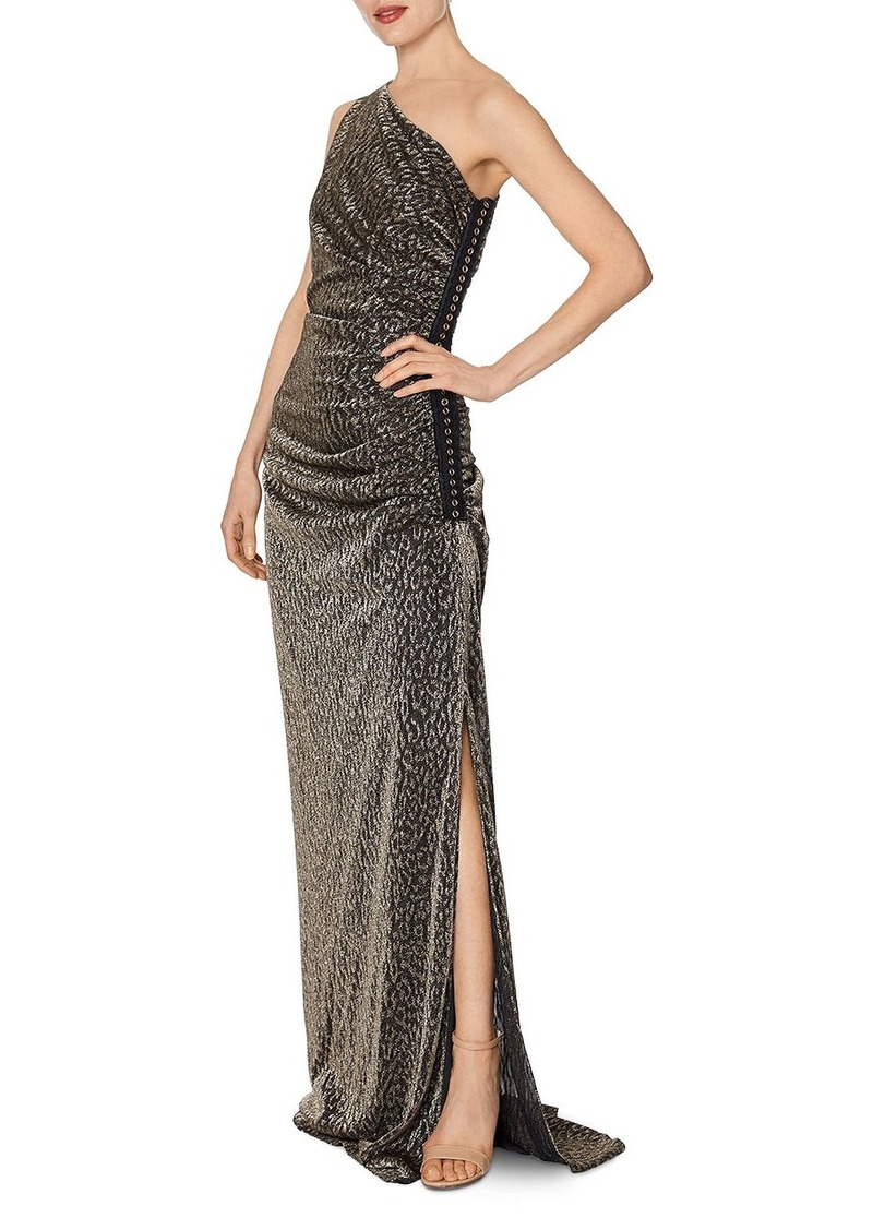 Laundry by Shelli Segal One-Shoulder Metallic Leopard Gown