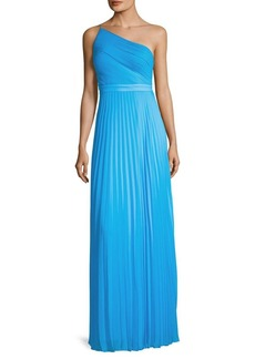 Laundry by Shelli Segal One-Shoulder Pleated Chiffon Dress