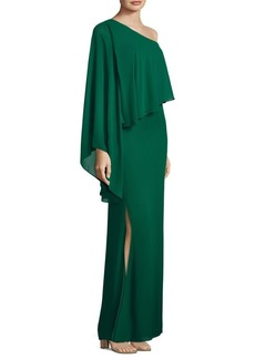 Laundry by Shelli Segal One-Shoulder Popover Gown