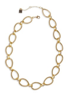 Laundry by Shelli Segal Pacific Blues Goldtone & Crystal Oval Link Necklace