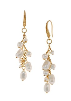 Laundry by Shelli Segal Palisade Goldtone and 5-8MM White Irregular Pearl Linear Earrings