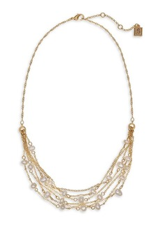 Laundry by Shelli Segal Palisade Goldtone and 5-8MM White Pearl Swag Layered Necklace