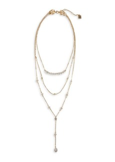 Laundry by Shelli Segal Palisade Goldtone and 5MM White Irregular Pearl Multi-Strand Necklace
