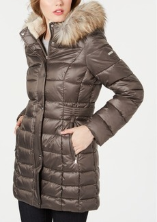 Laundry By Shelli Segal Petite Faux-Fur Trim Hooded Puffer Coat