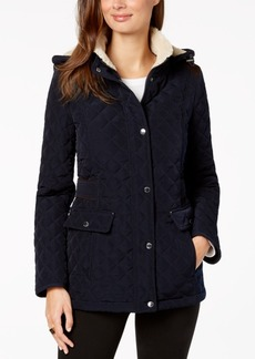 Laundry by Shelli Segal Petite Fleece-Lined Hooded Quilted Coat