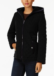 Laundry by Shelli Segal Petite Velvet-Trim Quilted Coat