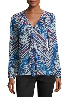 Laundry By Shelli Segal Picot-Edge Ruffle-Front Blouse