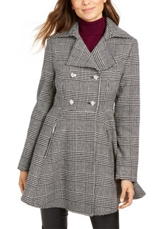 Laundry by Shelli Segal Plaid Double-Breasted Skirted Peacoat