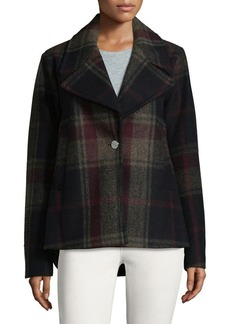 Laundry by Shelli Segal Plaid Notch Lapels Coat