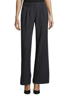 Laundry By Shelli Segal Plaid Pleated-Front Wide-Leg Trousers