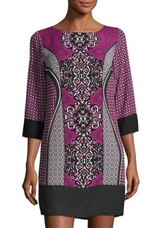 Laundry By Shelli Segal 3/4-Sleeve Geometric-Print Shift Dress