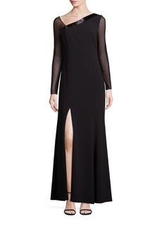 Laundry by Shelli Segal PLATINUM Beaded Asymmetrical Gown