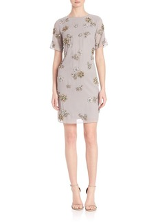 Laundry by Shelli Segal PLATINUM Brooch Embellished Dress