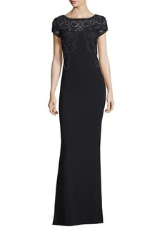 Laundry by Shelli Segal Platinum Embellished-Lace Cap-Sleeve Gown